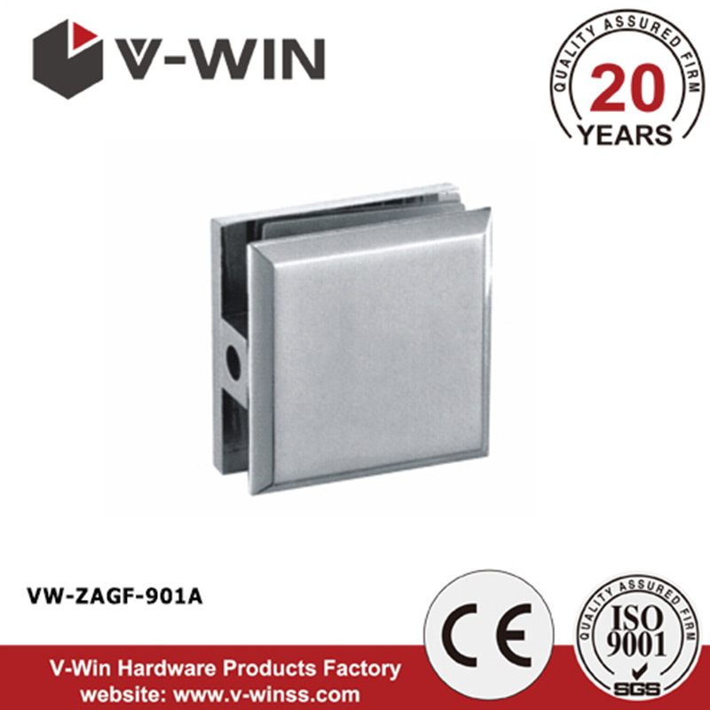 Hot sell double hole curved type shower door glass clip & glass hardware fitting VW-ZAGF-1101